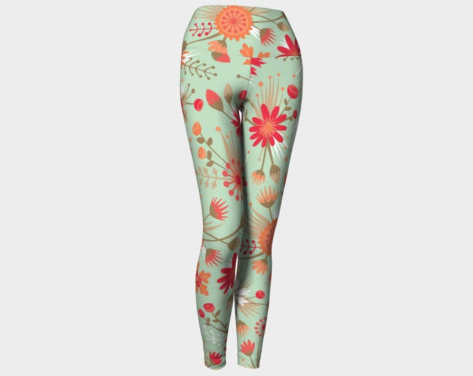 Poppy Flower Leggings, Yoga Leggings, Yoga Pants, High Waist, Floral Yoga Leggings, Leggings, Printed Leggings, Women's Leggings