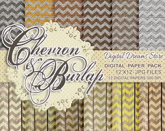 "Chevron Digital paper: ""CHEVRON WOOD and BURLAP"" chevron paper, digital chevron, digital burlap, wood digital paper, chevron background"