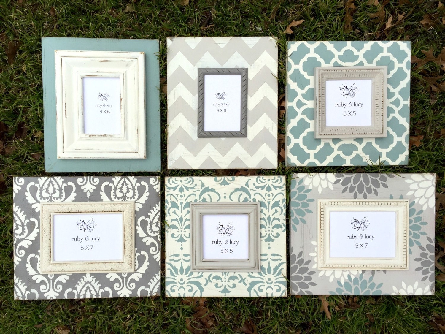 Distressed wood picture frame set gallery wall grouping 5x7 5x5 distressed wood picture frame set gallery wall grouping 5x7 5x5 4x6 duck egg wall art decor chevron neutral color modern frame jeuxipadfo Image collections