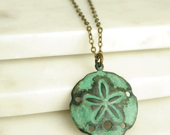 Sand Dollar Necklace, Sand Dollar Pendant, Beach Necklace, Shell Necklace, Verdigris Brass Charm,
