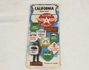 Vintage 1950 California Flying A Road Map