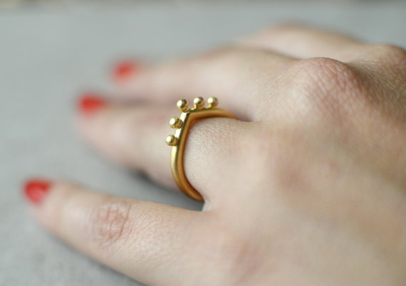 Hindu ring designer ring minimalist drop gold ring