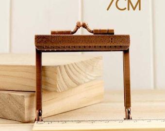 1 x rectangular clasp mini bag 7cm metal copper
