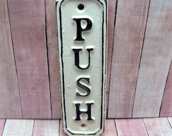 Push Cast Iron Sign Plaque White White Wall Decor Sign Shabby Elegance Distressed Door Handle Entrance Home Office Instruction Plaque
