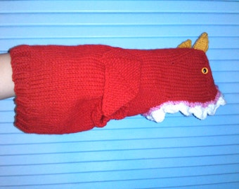 Hand Knit One-Size-Fits-Most Red Dragon Costume for Cats or Small Dogs