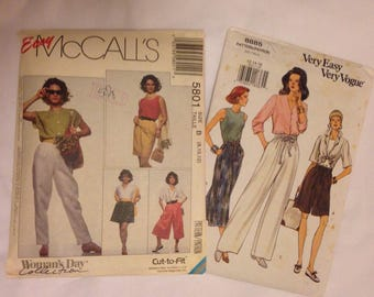 McCalls 5801 and Vogue 8885 1990s Fashion Patterns