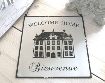 Welcome French Home Sign