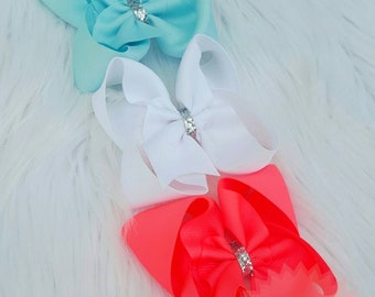 Summer Fun Boutique Bows ~ Bright & Beautiful ~   Neon Coral ~ White ~ Sea Foam ~ Silver Glitter ~ Clips or Headbands ~ Dress Up ~ Photos ~