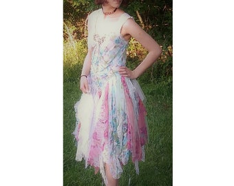 Bohemian whimsical unique wedding dress hand sewn one of a kind lace up back size 4 - 8/9