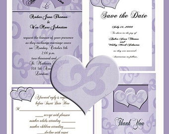 Heart Design Wedding  Invitation Package Editable Download