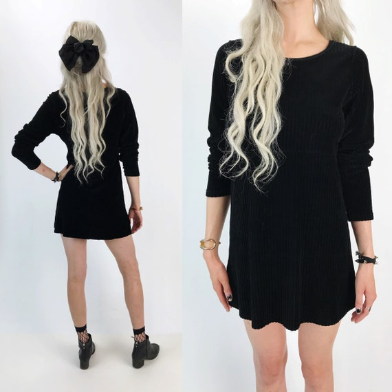 90's Black Ribbed Long Sleeve Mini Dress S/M - Basic Soft Velvet Long Sleeve Black Dress - Raw Hem Grunge Goth Girl Textured Staple Dress