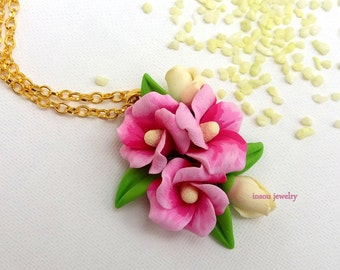 Flower Necklace, Pink Necklace, Pink Jewelry, Pink Flowers, Floral Fashion, Spring Jewelry, Romantic Jewelry, Gift For Her, Birthday Gift