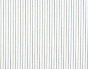 Classic Stripe Storm Grey Fabric, Premier Prints Classic Ticking Gray Home Decor Fabric, Grey White Cotton Fabric - by yard