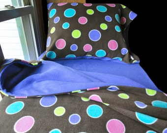 Polka Dots and Chocolate Fleece Bed Set for Girls and Boys Handmade Fits Crib and Toddler Beds