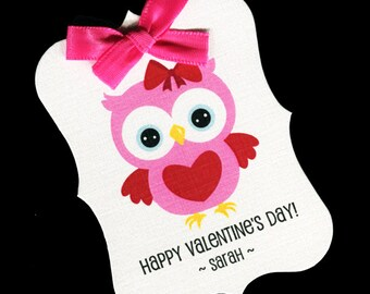 20 Valentine Tags - Personalized Tags - Valentines Day - Favor Tags - Cookie Tags - Bag Tags - Valentine Candy Tags - Valentine Owl