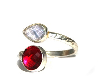 Red and White Zirconium Double stone Silver Ring