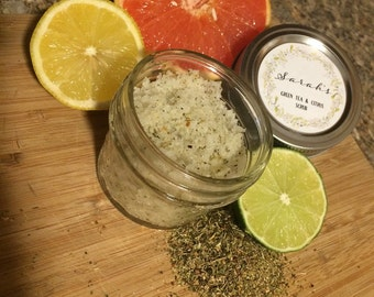 Natural Citrus Green Tea Body Scrub- Natural Body Scrub-Organic Body Scrub-4oz Jar-Facial Scrub-Sweet Almond Oil -Coconut Oil-Handmade