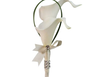 Boutonniere-Real touch calla lily with ribbon bow(Pick ribbon color)