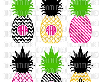 Pineapple Monogram Frames SVG Cut Files for Vinyl Cutters, Screen Printing, Silhouette, Die Cut Machines, & More