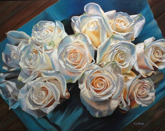The Chosen 12, an oil painting on canvas of a bouquet of 12 white roses with a blue background.  FREE Shipping US CANADA limited time!
