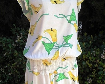 Dress & Hat Designer Carole Little Calla Lily Print Dress/ Matching Custom made Hat  Size 12  Set Item #856  Daytime Dresses