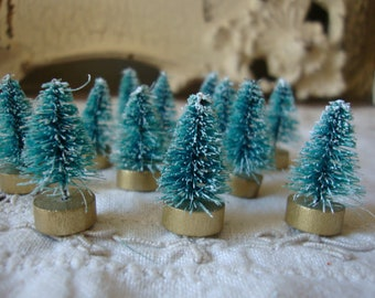 "Bottle brush trees 1"" 1/2 green christmas craft supplies farmhouse christmas vintage style supplies mini trees holiday crafting millinery"