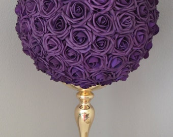 EGGPLANT PURPLE Flower Ball, Wedding Centerpiece, Eggplant Kissing Ball . Flower Girl Bouquet. Pick Your Size.
