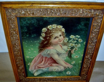Victorian Girl Her Pink Lace Dress Handful of White Daisy Flowers Original 1900s Chromolithograph Antique Ornate Gilt Oak Wood Frame