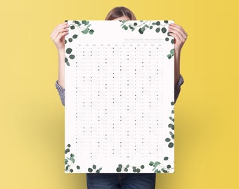 2019 Eucalyptus Wall Planner  - Wall Calendar - 2019 Year Planner - Monthly Planner - Weekly Planner