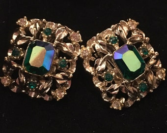 Vintage Coro Rhinstone Clip-on Earrings