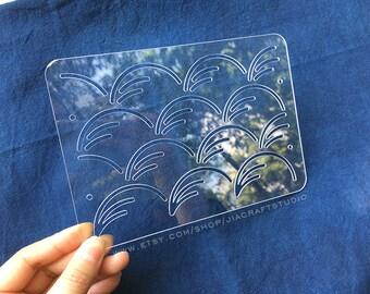 Sashiko Stencil By Acrylic -Sashiko Embroidery Pattern -Quilting Stencil   Autumn wind