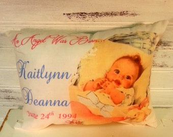 Personalized New Baby Gift Pillow, Vintage Inspired, Custom Pillow, New Baby Gift, Newborn Gift Pillow