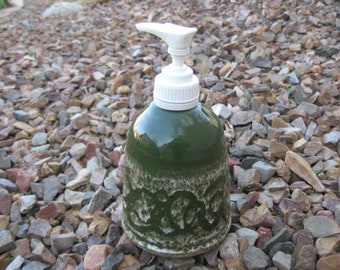 Stoneware Soap Pump,  Hand Lotion Pump in Dark Green with a scrolled design, Stoneware Pottery Soap Pump,  Spring Decor, Scrolled Soap Pump