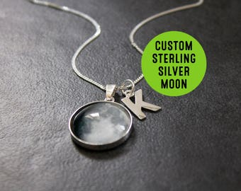 Custom Sterling Silver Birth Moon Necklace with Initial Letter - Personalised Initial Glass Dome full moon phase Necklace Birthday pendant