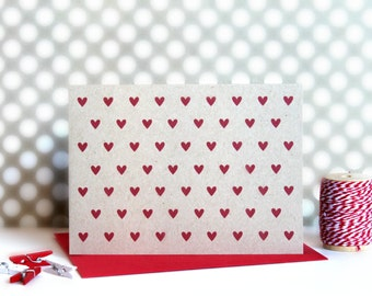 Kraft Heart Note Cards (Set of 5) - Greeting Card, Kraft, Heart Note Cards, Note Cards, Valentine Note Cards, Valentine's Day Card