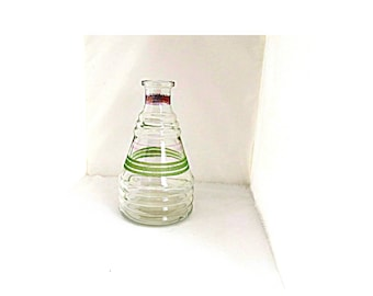 French vintage GREY POUPON  striped glass wine decanter