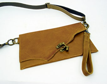 Saddle Brown Leather Purse with Brown leather Strap and Wristlette Strap