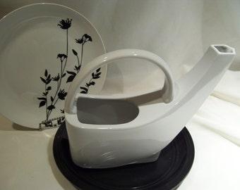 Unique Rare Pfaltzgraft White Ceramic Watering Can,Swoop