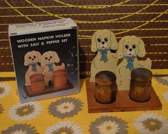 Wooden Dog Napkin Holder with Salt and Pepper Shakers