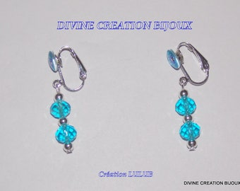 Clip earrings with glass beads faceted and cabochon style mandala
