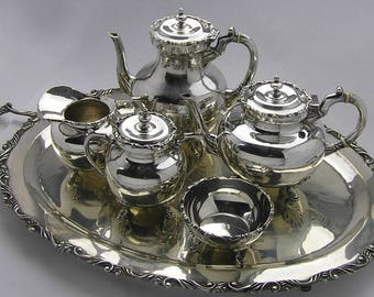 Vintage 1960s Mexican Sterling Silver 6 Piece Tea and Coffee Set with Tray Silver Tea Set & Gorgeous Oneida Georgian Scroll Silver Plate Six Piece Tea and