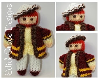 Doll Knitting Pattern - King Henry VIII Doll - Knit Doll - Toy Knitting Pattern - Doll Making - Doll Pattern - King Crown - Tudor Doll