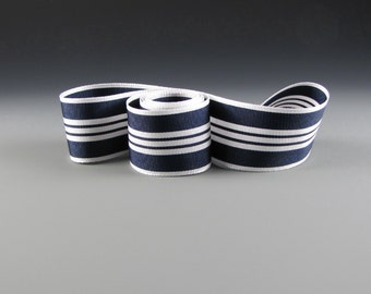 "1.5"" NAVAL WEDDING RIBBON Navy and White Grosgrain"