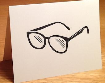 Eyeglasses linocut block print card