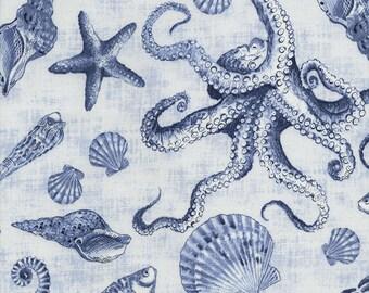 Marine organisms Fabric: Timeless Treasures Beach Sea Life Creatures Delft -Fish, Seashells,Octopus  100% cotton Fabric by the yard (TT74)