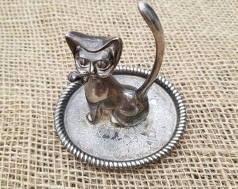 Silver Plated Cat Ring Holder