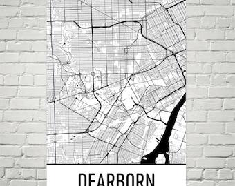 Dearborn Map, Dearborn Art, Dearborn Print, Dearborn MI Poster, Dearborn Wall Art, Detroit Gift, Map of Detroit, Michigan Poster, Decor