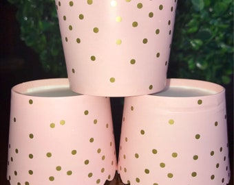 Pink and Gold Polka Dot Paper Baking Cups w/ Scalloped Tops - Pink & Gold - set of 25 Cupcake Wrappers, Cupcake Liner, Muffin,Gold Polka Dot