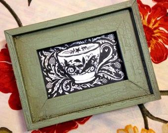 "Teacup Tiny Original Drawing : 2""x 3"" Green Framed Original Ink Drawing - Black and White - Original Art - Kitchen art"