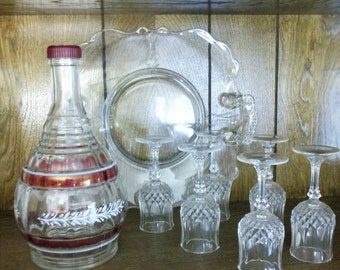 Bundles ~~~ 1930's Rare Chivas Brothers ltd, Beautiful crystal glass bottle, Six small stem glasses with large glass plate....